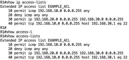 show ip access list command
