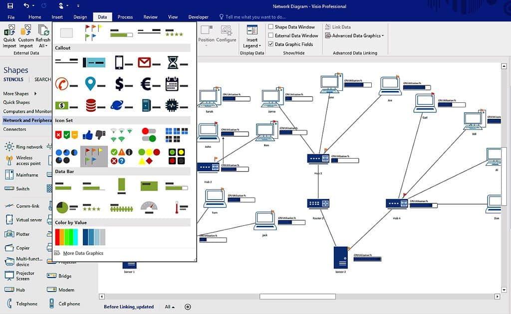 Microsoft Visio Diagraming Lan Wan Network