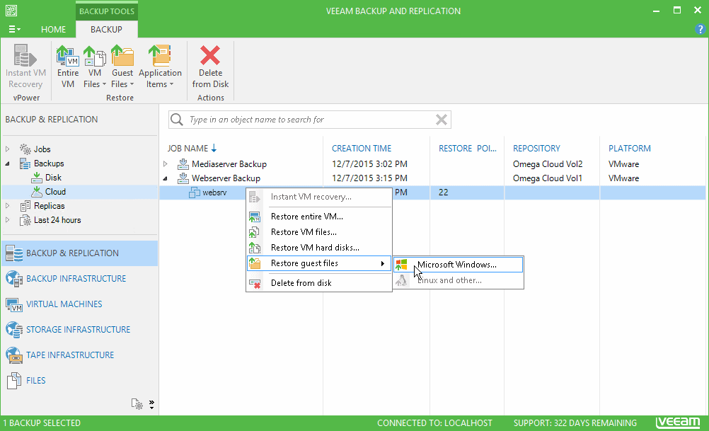 Veeam Backup and Replication Exchange Server