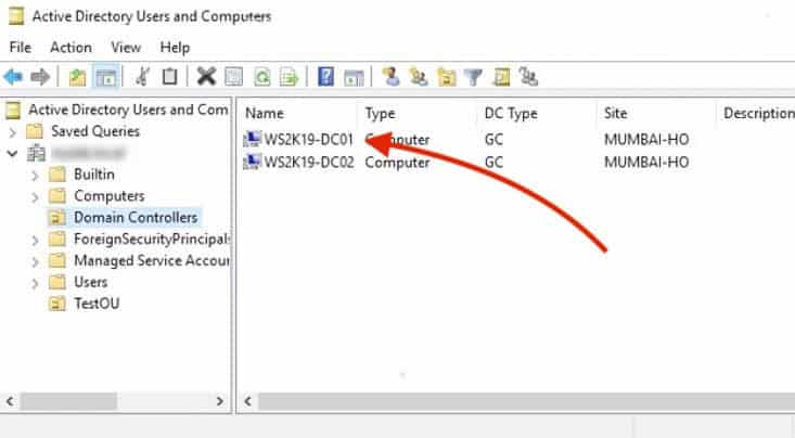 aduc domain controllers window