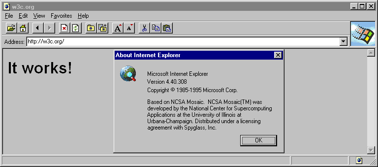 Internet Explorer 1.0 (4.40.308) in Windows NT 4.0 Workstation