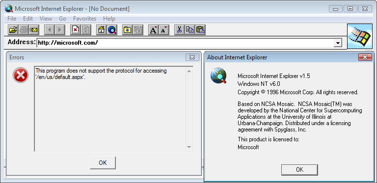 Internet Explorer 1.5 (0.1.0.10) in Windows Vista