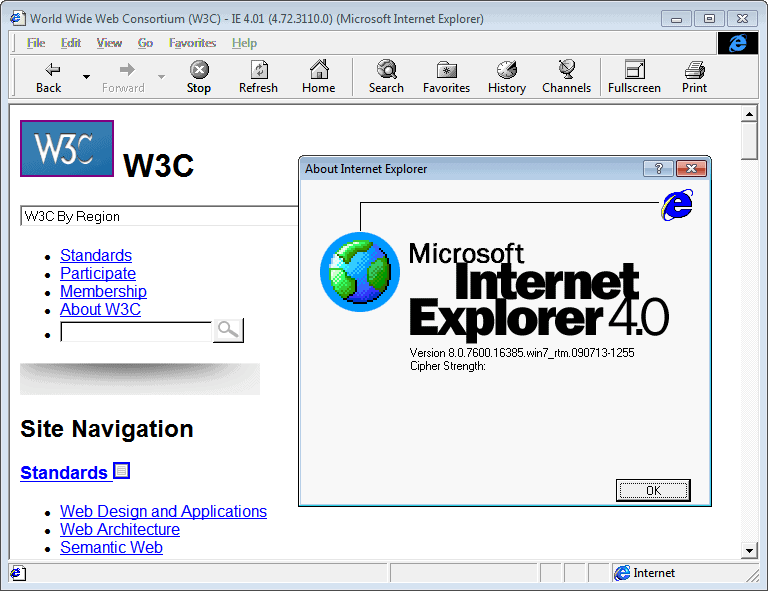 Internet Explorer 4.01 (4.72.3110.0) in Windows 7