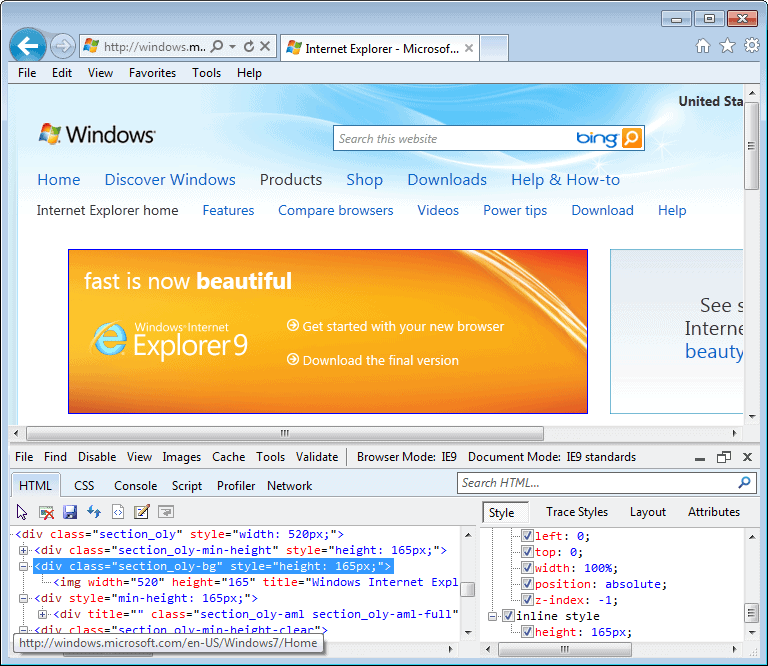 Internet Explorer 9.0 (9.00.8112.16421) in Windows 7