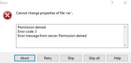 Error Message: SFTP permission denied
