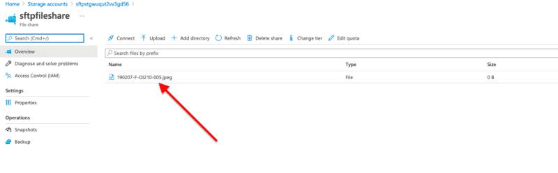 Azure Portal, SFTP File Share