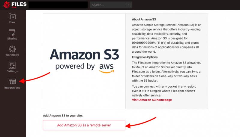Add Amazon S3 as a remote server