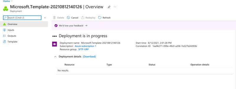 Deployment process initiation screenshot