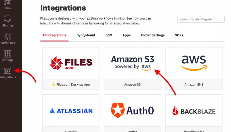 """Files.com """"Integrations"""