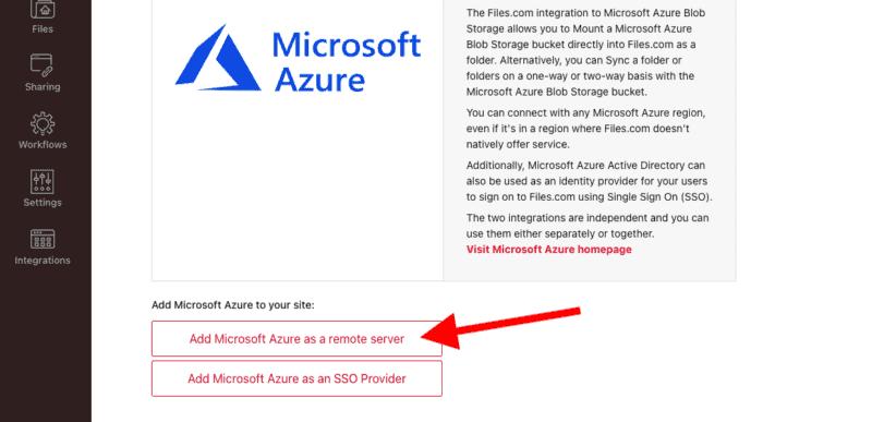 Add Microsoft Azure as a remote server