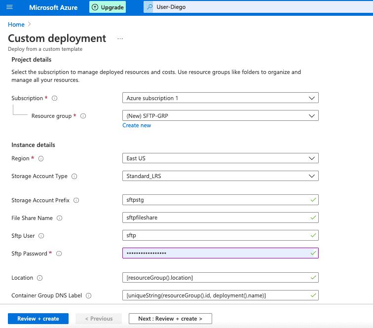Microsoft Azure Custom Deployment Screen