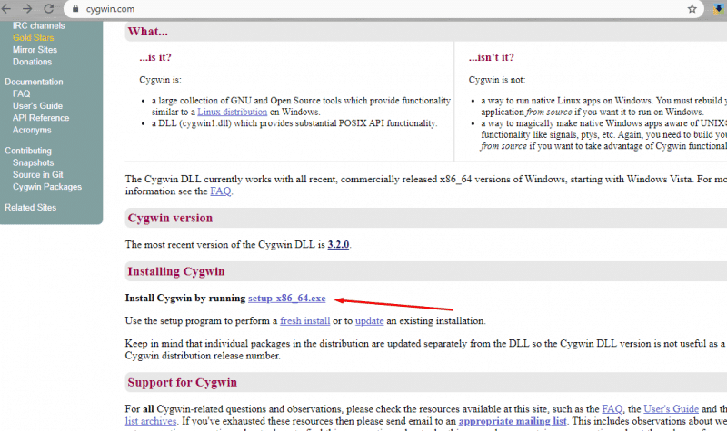 Downloading and Installing Cygwin