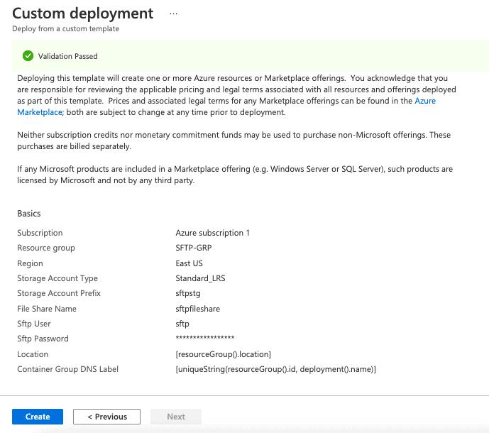Custom deployment validation passed screenshot
