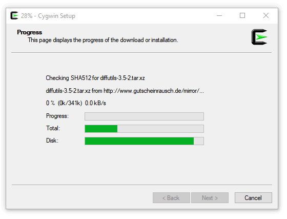 Cygwin Setup progress of the download or installation screen
