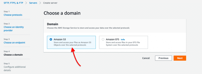Selection of S3 as the default AWS Storage service