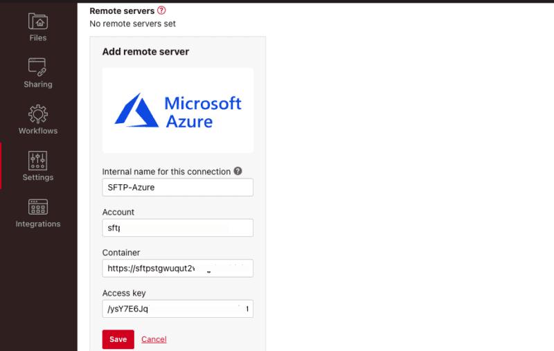 Microsoft Azure's remote server information
