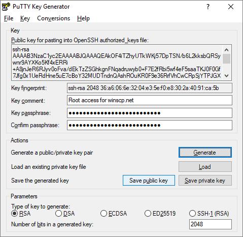 PuTTY Key Geneator - creation of a new set of keys
