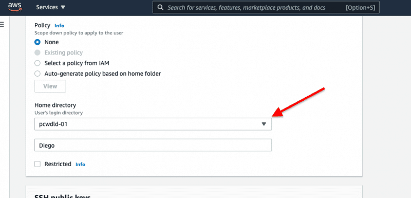 Name, policy, role, and selection of your S3 bucket as Home Directory. Provide the SSH public key.