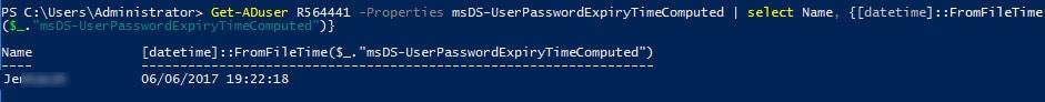 list user password expiration powershell
