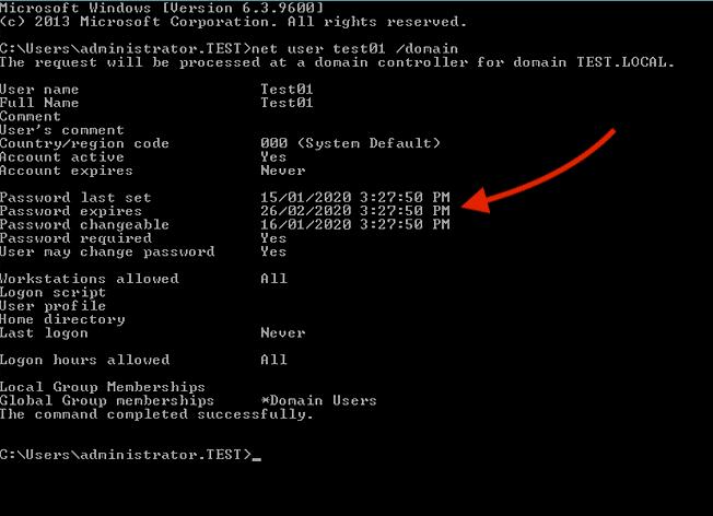 net user test01:domain