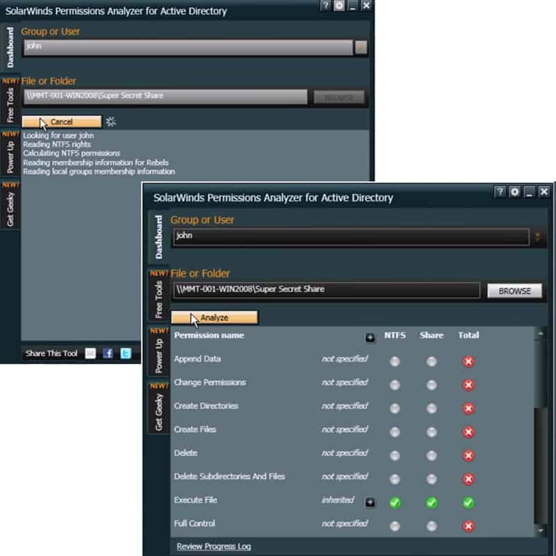 Permissions Analyzer Active Directory users and distribution and security groups