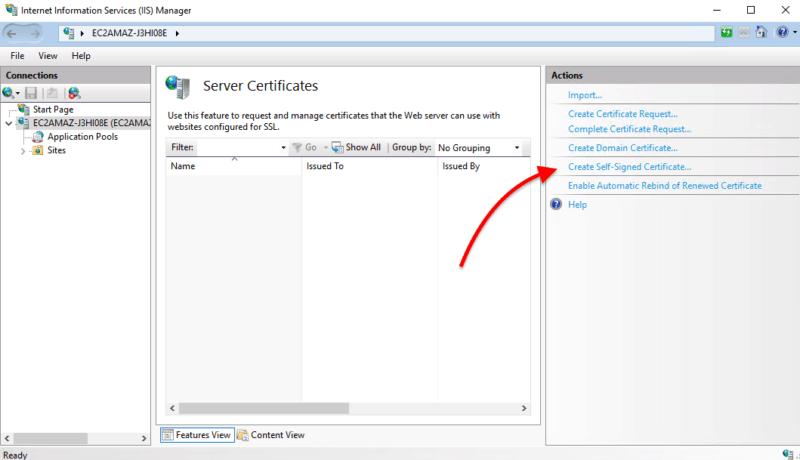 "choose the option ""Create Self-Signed Certificate"""