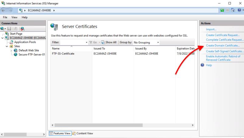 Go to Server Certificates