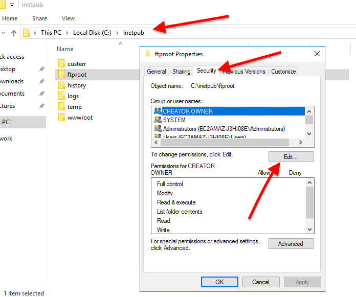 give the new user permission to the FTP root folder