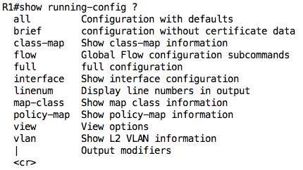 show-running-config question mark