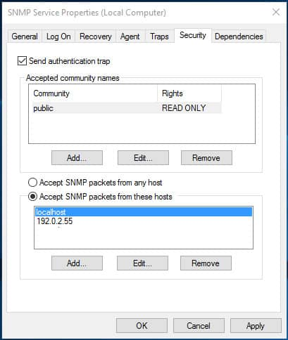 smnp community string configure windows