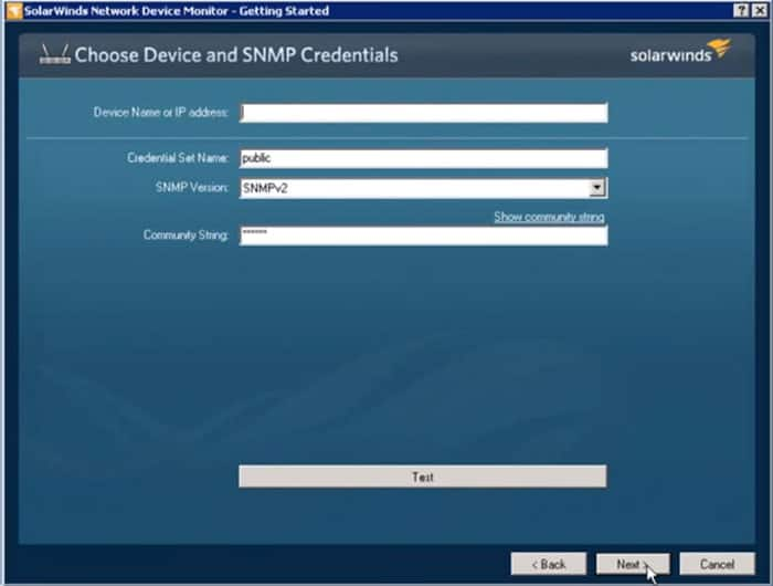 snmp setup network device monitor tool