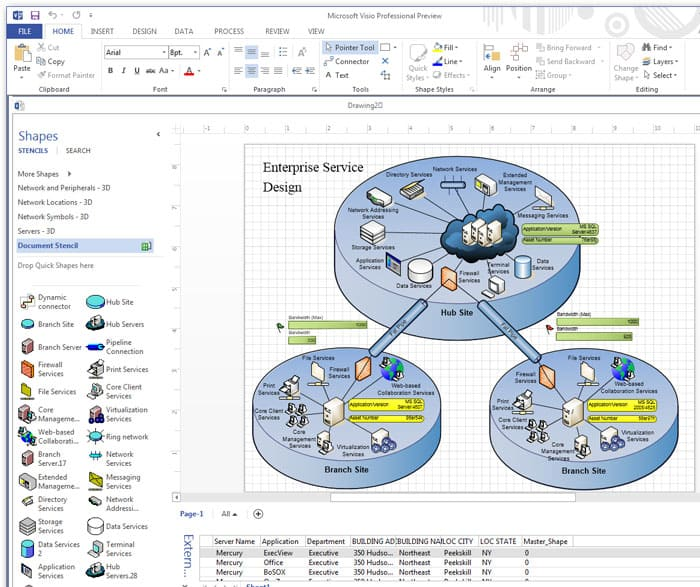 Visio Screenshot of Network Diagram