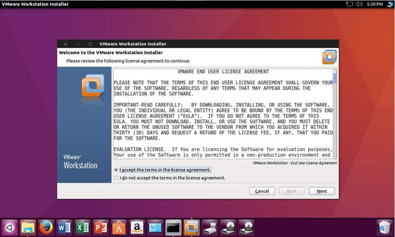 vmware ubuntu step 1